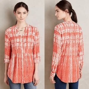 Anthropologie Maeve Orange Shirt Blouse Top Sz 10